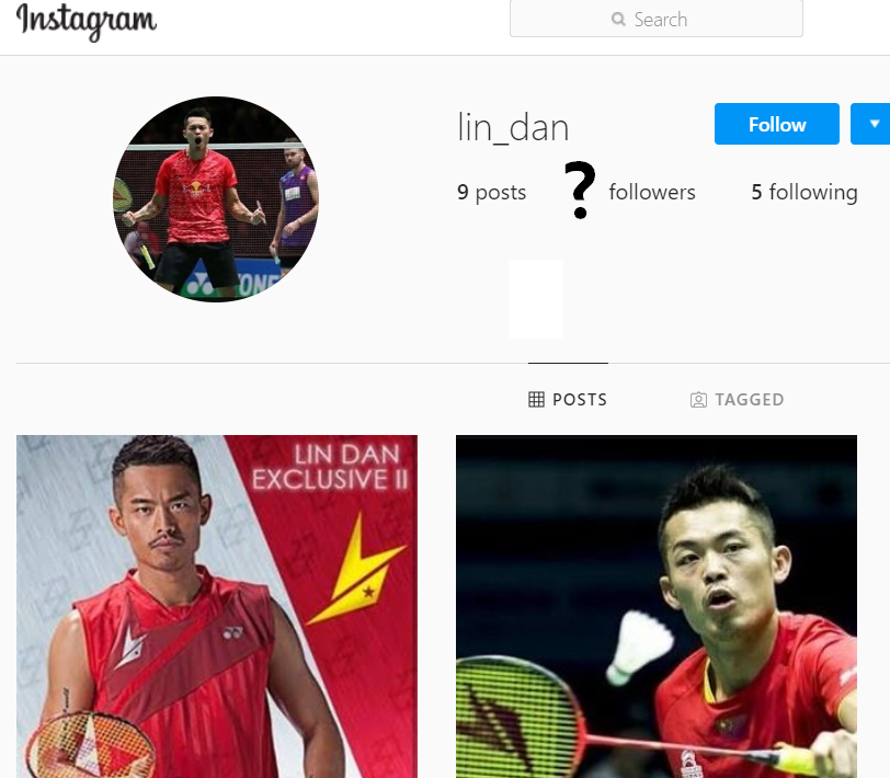 How many followers would Lin Dan have, had he an Instagram profile?